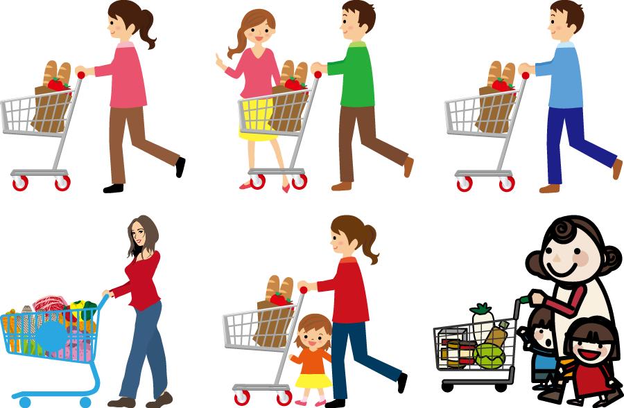 フリーイラスト 6種類のショッピングカートを押して買い物する人々のセット