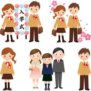 フリーイラスト, ベクター画像, AI, 学校, 入学式, 学生(生徒), 高校生, 人物, 少年, 少女, 桜(サクラ), 春, 4月, 学生服, ブレザー制服, 家族, 父親(お父さん), 母親(お母さん), 娘, 桜(サクラ)