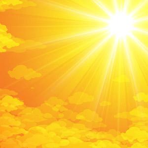 フリーイラスト, ベクター画像, AI, 風景, 自然, 空, 夕暮れ(夕方), 夕焼け, 夕日, 太陽光(日光), 雲, オレンジ色