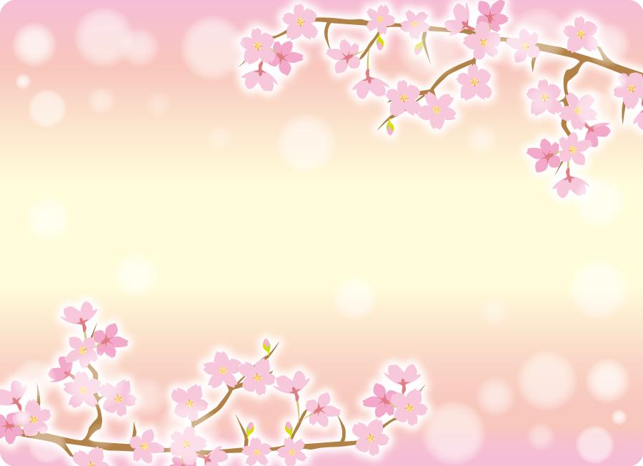 フリーイラスト さくらの花と玉ボケの飾り枠