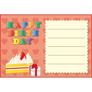 フリーイラスト, ベクター画像, EPS, 背景, メッセージカード, 誕生日(バースデー), ハッピーバースデー, ケーキ, ショートケーキ, プレゼント, プレゼント箱, ハート