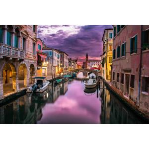 フリー写真, 風景, 建造物, 建築物, 街並み(町並み), 運河, 船, 夕暮れ(夕方), ボート, イタリアの風景, ヴェネツィア(ベネチア)