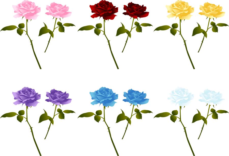 フリーイラスト 6色のバラの花のセット