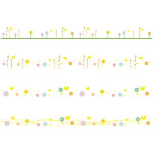 フリーイラスト, ベクター画像, AI, 飾り罫線(ライン), 春, 花柄, 蝶(チョウ), 土筆(ツクシ)