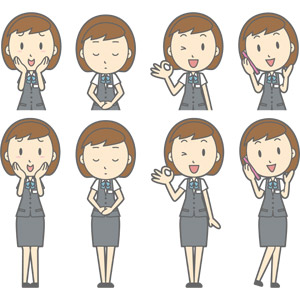 フリーイラスト, ベクター画像, AI, 人物, 女性, 女性(00150), ビジネス, OL(オフィスレディ), 職業, 仕事, 事務服, 照れる, 頬に手を当てる, お辞儀, 頭を下げる, 謝罪, 謝る(ゴメン), OKサイン, 通話, 携帯電話