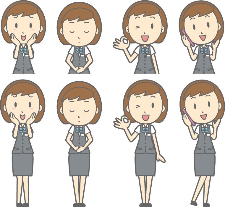フリーイラスト 照れるなどの8種類の女性OLのセット