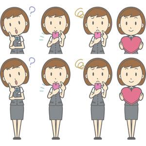 フリーイラスト, ベクター画像, AI, 人物, 女性, 女性(00150), ビジネス, OL(オフィスレディ), 職業, 仕事, 事務服, 分からない, 首を傾げる, スマートフォン(スマホ), 困る, ハート