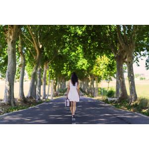 フリー写真, 人物, 女性, 後ろ姿, 人と風景, 道路, 並木道, 樹木, トランクケース, 旅行(トラベル)
