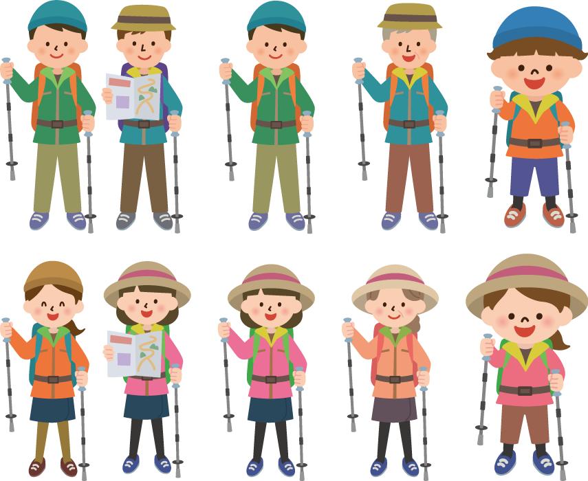 フリーイラスト 8種類の登山者のセット