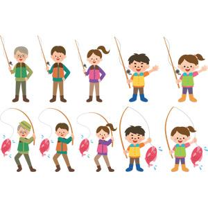 フリーイラスト, ベクター画像, AI, 魚釣り(フィッシング), 釣り竿, アウトドア, レジャー, 人物, 女性, 男性, 子供, 男の子, 女の子, 老人, シニア男性, シニア女性, 祖父(おじいさん), 魚(サカナ)
