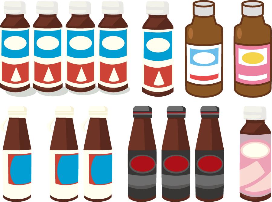 フリーイラスト 8種類の栄養ドリンクのセット