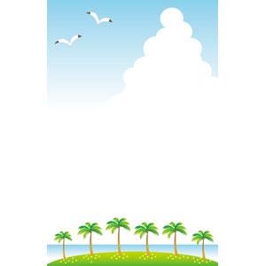 フリーイラスト, ベクター画像, AI, 風景, 自然, 南国, リゾート, バケーション, 島, 樹木, 椰子(ヤシ), 積乱雲(入道雲), 夏, 青空, 鴎(カモメ)