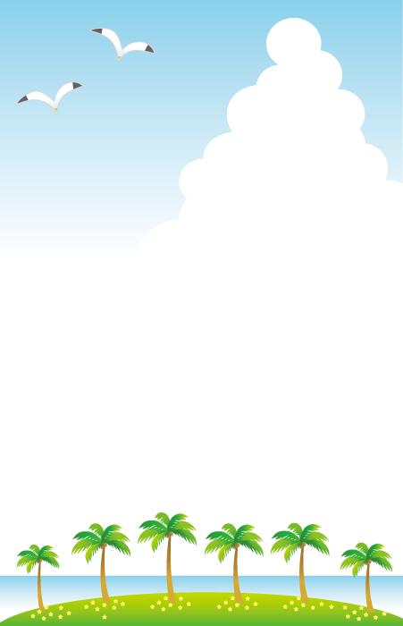 フリーイラスト 南の島と入道雲の風景