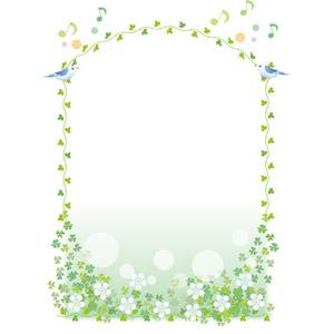 フリーイラスト, ベクター画像, EPS, 背景, フレーム, 囲みフレーム, 植物, 花, 蔦(ツタ), 小鳥, 青い鳥, 音符