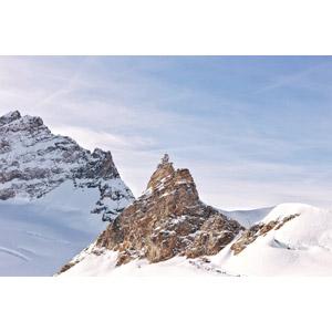 フリー写真, 風景, 建造物, 建築物, 観測所, 山, 雪, スイスの風景