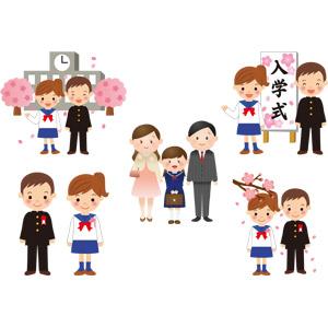 フリーイラスト, ベクター画像, AI, 学校, 入学式, 学生(生徒), 中学生, 学生服, 学ラン, セーラー服(学生服), 人物, 少年, 少女, 家族, 父親(お父さん), 母親(お母さん), 娘, 桜(サクラ)