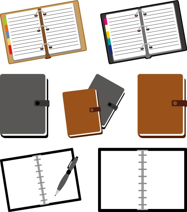 フリーイラスト 7種類のシステム手帳のセット