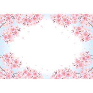 フリーイラスト, ベクター画像, AI, 背景, フレーム, 囲みフレーム, 植物, 花, 桜(サクラ), 蕾(つぼみ), 花びら, 枝