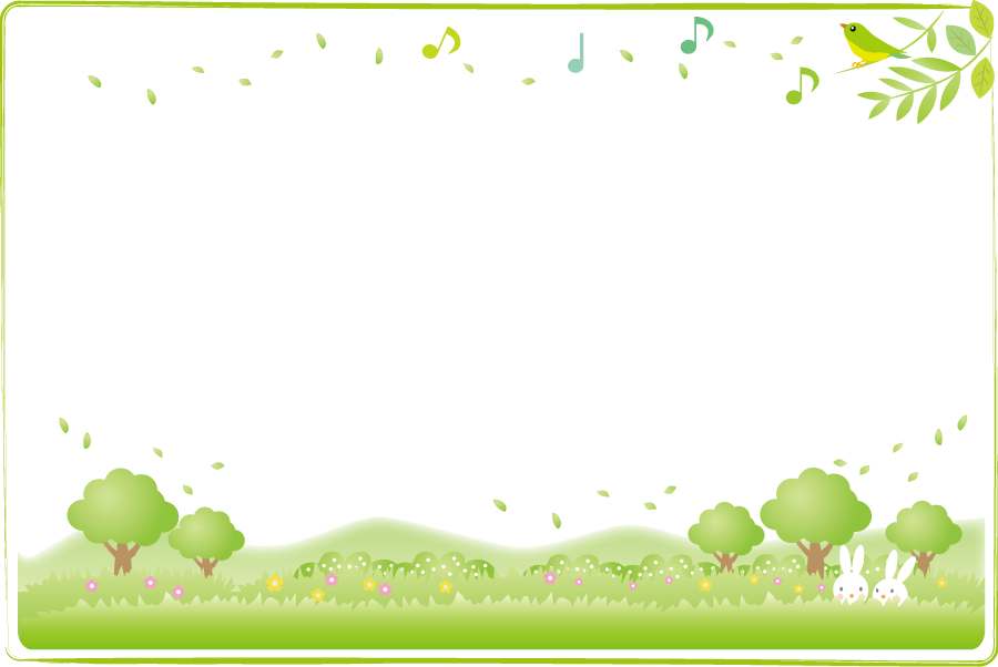 フリーイラスト 草原に隠れるうさぎ歌う小鳥の飾り枠