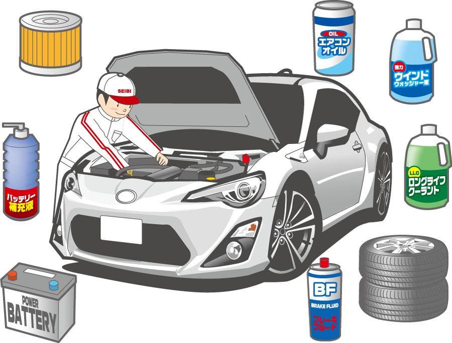 フリーイラスト 車の整備士とカー用品のセット