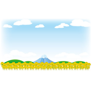フリーイラスト, ベクター画像, AI, 風景, 山, 富士山, 日本の風景, 世界遺産, 畑, 菜の花(アブラナ), 黄色の花, 青空, 雲, 春