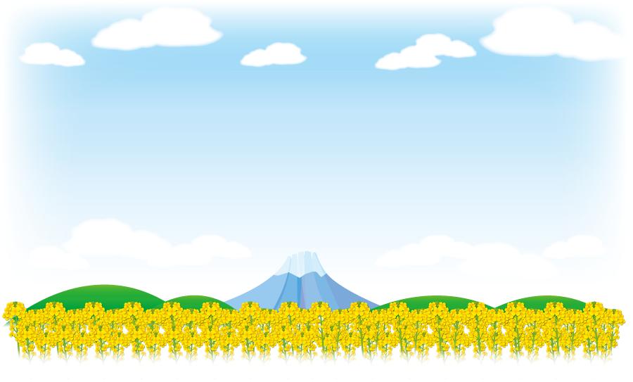 フリーイラスト 菜の花畑と富士山の風景