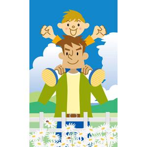 フリーイラスト, ベクター画像, EPS, 人物, 親子, 父親(お父さん), 子供, 息子, 肩車, 人と花, 花, マーガレット, 白色の花, てんとう虫(テントウムシ), 二人