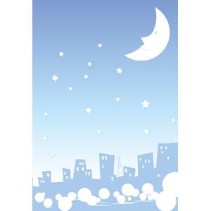 フリーイラスト, ベクター画像, EPS, 背景, 夜空, 夜, 月, 星(スター), 三日月, 都市, 街並み(町並み)