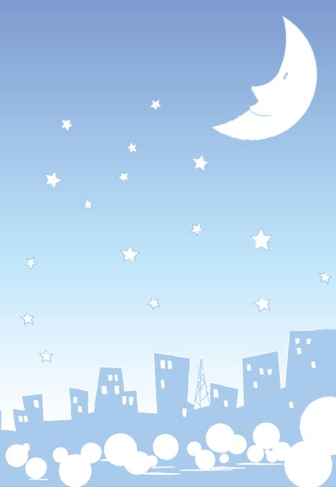 フリーイラスト 夜空の三日月と星と街並みの風景
