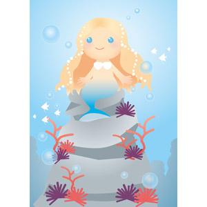 フリーイラスト, ベクター画像, EPS, 神話・伝説の生物, 人魚, 水中
