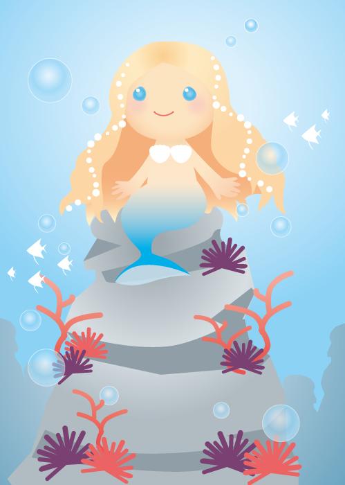 フリーイラスト 海底の岩に座る人魚