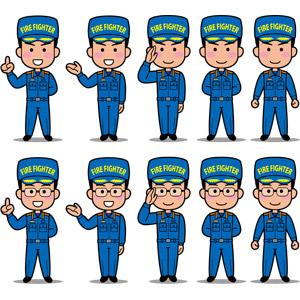 フリーイラスト, ベクター画像, EPS, 人物, 男性, 職業, 仕事, 消防士, 消防, ワンポイントアドバイス, 案内する, 敬礼, 休めのポーズ, 眼鏡(メガネ), 帽子