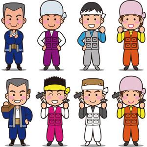 フリーイラスト, ベクター画像, EPS, 人物, 男性, 職業, 仕事, 建設作業員, 大工, ニッカポッカ, 腕を組む, 腰に手を当てる, 釘(クギ), 金槌(トンカチ)