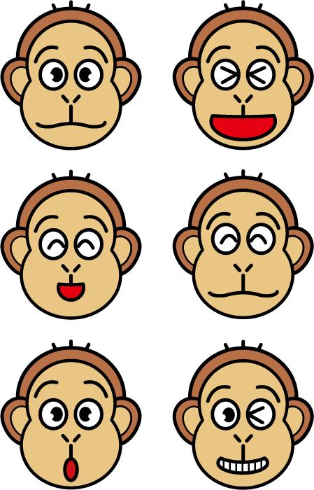 フリーイラスト 6種類のさるの顔ののセット