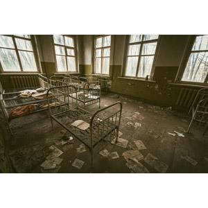 フリー写真, 風景, 建造物, 建築物, 幼稚園, 廃墟, チェルノブイリ原発事故, ウクライナの風景, 災害, 事故, 原子力発電