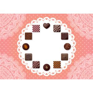 フリーイラスト, ベクター画像, AI, 背景, フレーム, 円形フレーム, 食べ物(食料), 菓子, 洋菓子, チョコレート, 年中行事, 2月, バレンタインデー, レース編み