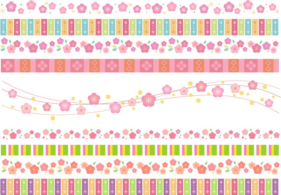フリーイラスト 9本のひな祭りの飾り罫線のセット