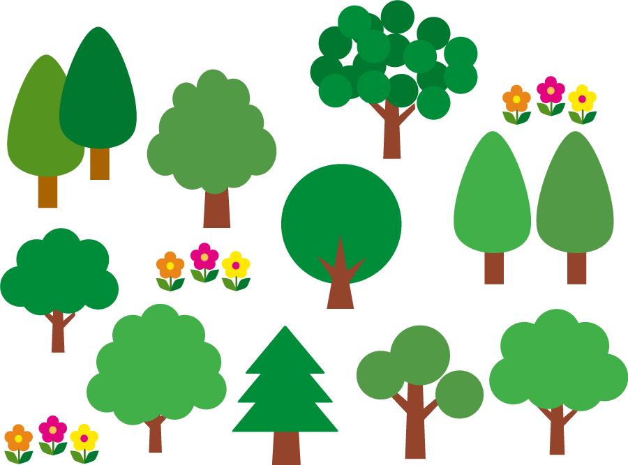 フリーイラスト 10種類の木のセット