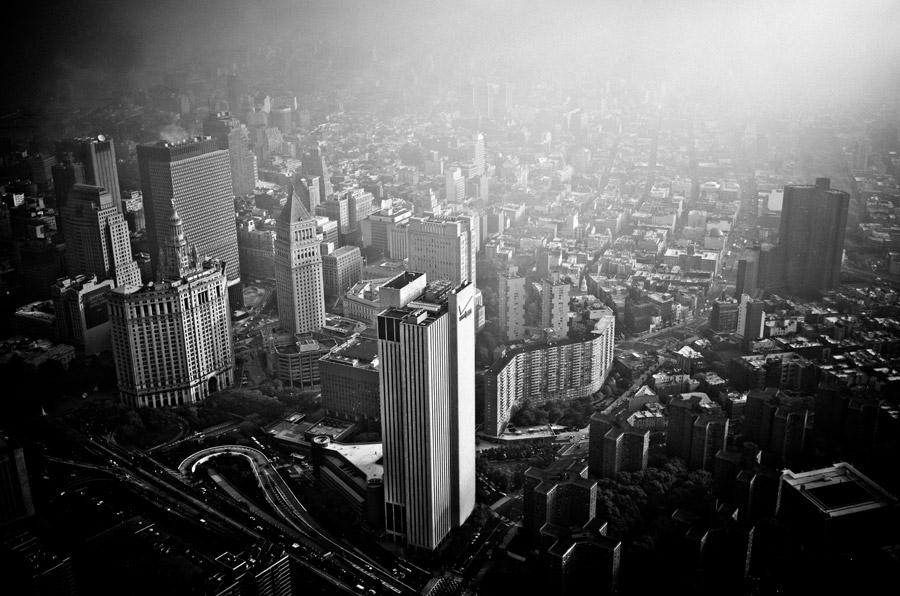 フリー写真 高い所から見下ろすニューヨークの街並み
