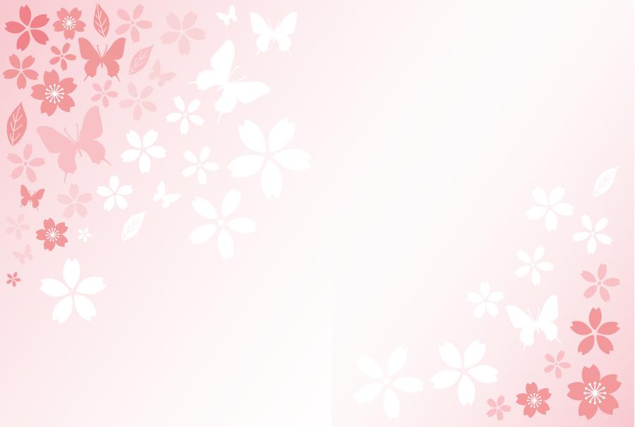 フリーイラスト さくらの花と蝶の飾り枠