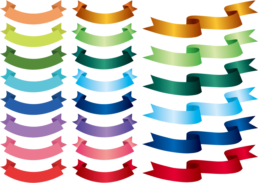 フリーイラスト 22種類のリボンのセット