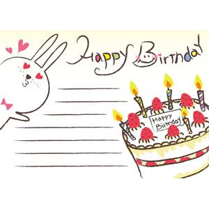 フリーイラスト, ベクター画像, AI, 背景, メッセージカード, 誕生日(バースデー), バースデーケーキ, ハッピーバースデー, ろうそく(ロウソク), 兎(ウサギ)