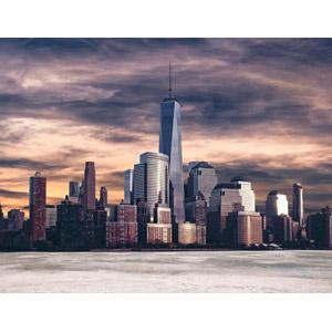 フリー写真, 風景, 建造物, 建築物, 高層ビル, 都市, 街並み(町並み), ワン・ワールドトレードセンター, アメリカの風景, ニューヨーク, 夕暮れ(夕方)