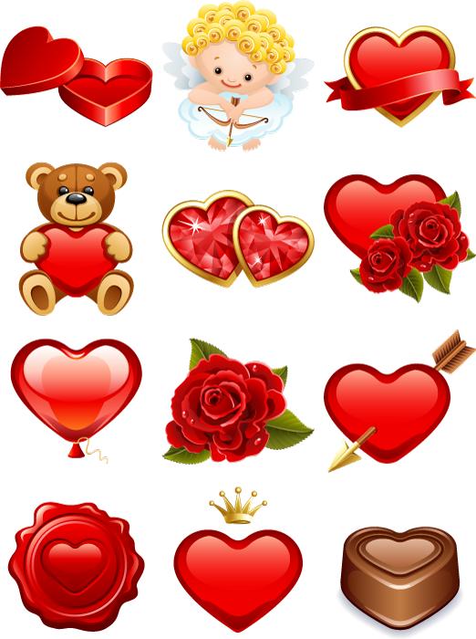 フリーイラスト ハートなどの12種類のバレンタインデー関連のセット