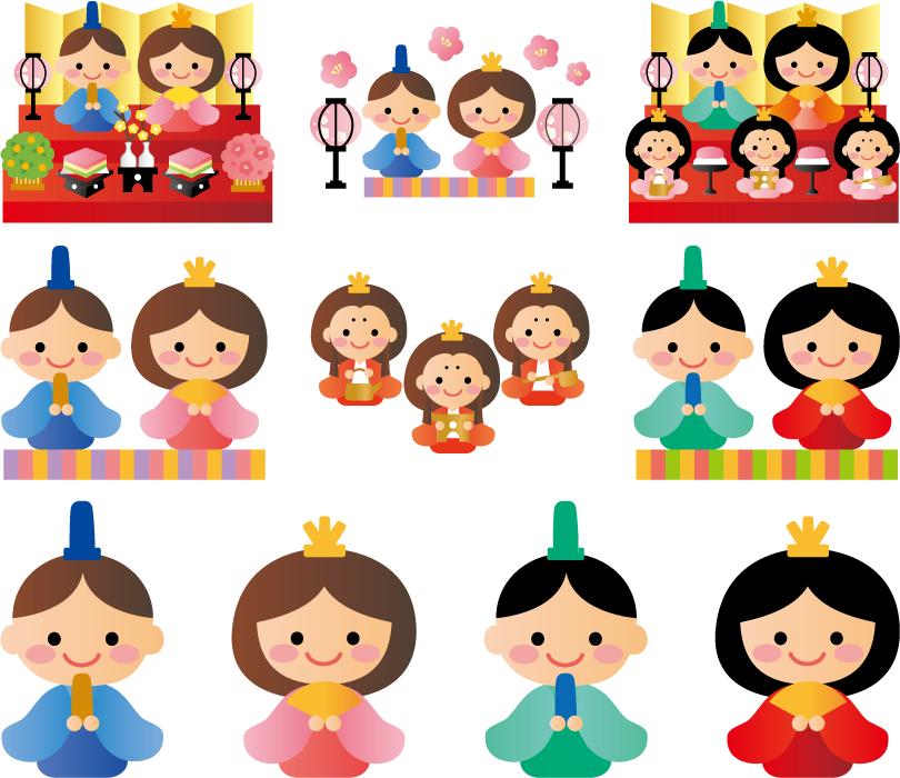 フリーイラスト 10種類のひな人形のセット