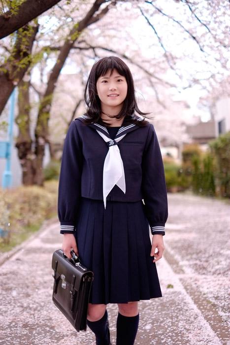 フリー写真 桜並木を歩いて通学する女子高生