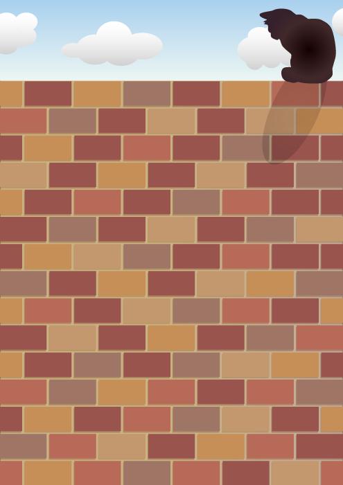 フリーイラスト レンガ造りの壁と黒猫