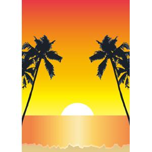 フリーイラスト, ベクター画像, AI, 風景, 自然, 樹木, 椰子(ヤシ), 南国, リゾート, バカンス, 夕暮れ(夕方), 夕焼け, 夕日, 日の入り, オレンジ色, 海