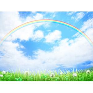 フリーイラスト, 風景, 自然, 空, 雲, 虹, 植物, 雑草, クローバー(シロツメクサ)