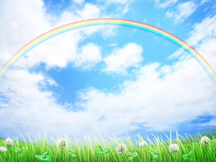 フリーイラスト 青空と虹の風景